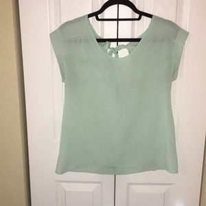 Mint green tie back short sleeve top